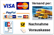 Zahlungsweisen, Mastercard, VISA, American Express, Vorauskasse, Paypal, Nachnahme, Bankeinzug