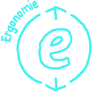 Das blaue Ergobag WOW-icon für Ergonomie.