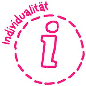 Das rote Ergobag WOW-Icon für Individualität.