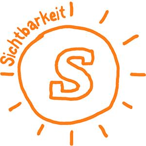 Das orangefarbene Ergobag WOW-Icon für Sichtbarkeit