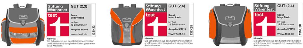 Testergebnisse der 3 getesteten Modelle von Scout lauf Stiftung Warentest.