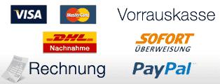 zahlung per Kreditkarte (VISA MasterCard), Vorrauskasse, Paypal,Nachnahme, Sofortüberweisung und Rechnung